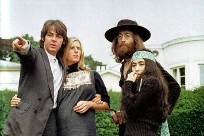 August 22, 1969: The Fab Four with Yoko Ono and Linda McCartney.